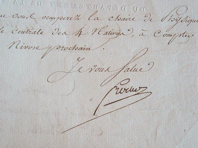 Nomination à l'Ecole Centrale des quatre nations par Frochot.. Nicolas Thérèse Benoît Frochot (1761-1828) Constituant, conseiller d'Etat, il est le ...