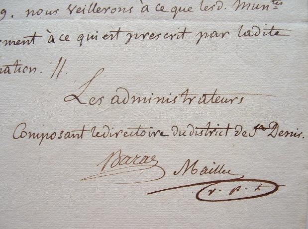 Les administrateurs de Saint-Denis garants de l'exécution des lois révolutionnaires..