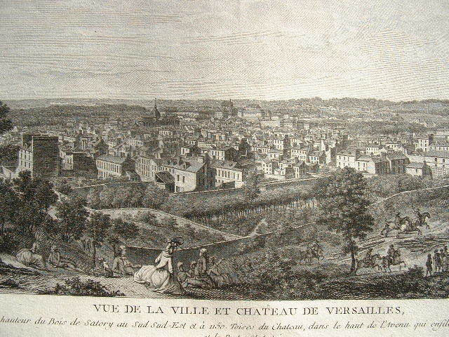 Paire de vues animées de la ville de Versailles..
