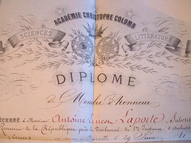 Diplôme de l'Académie Christophe-Colomb de Marseille..