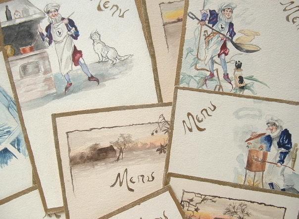4 séries de projets de menus à l'aquarelle..