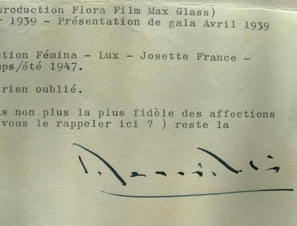 Marcel L'Herbier dresse une liste de films.. Marcel L'Herbier (1888-1979) Cinéaste.