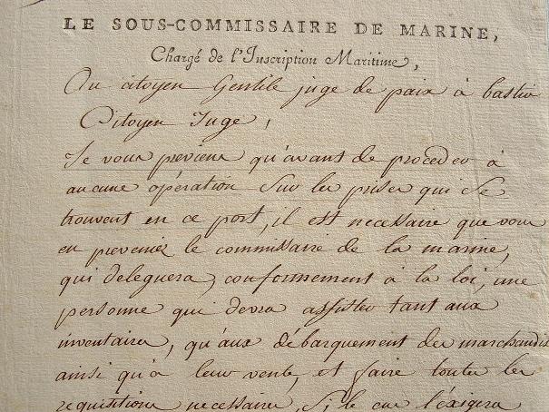 Instructions sur les prises des corsaires en Corse..