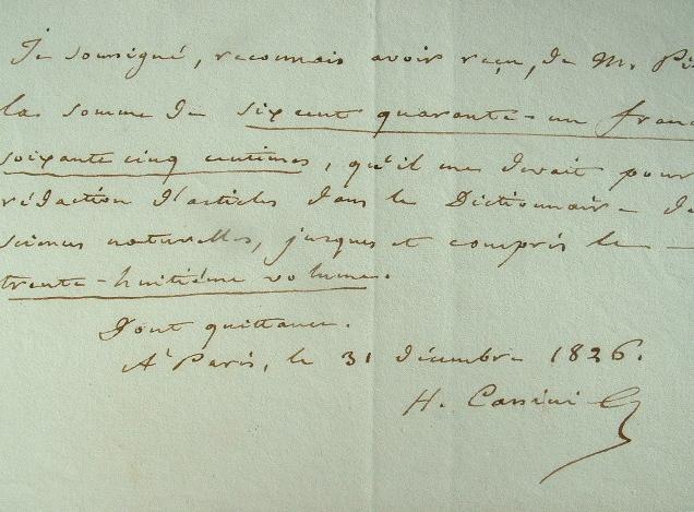 Cassini rétribué pour le Dictionnaire des sciences naturelles.. Alexandre Henri Gabriel Cassini (1781-1832) Botaniste et magistrat, membre de ...