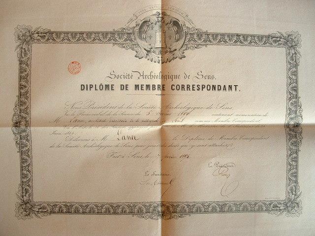 Diplôme de la Société Archéologique de Sens..