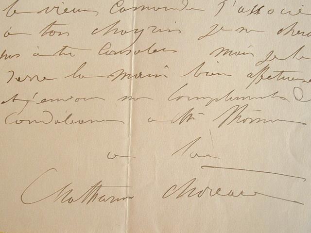 Mathurin Moreau écrit à un ami sculpteur.. Mathurin Moreau (1822-1912) Sculpteur formé à l'École nationale des Beaux-Arts, il reçoit de nombreuses ...