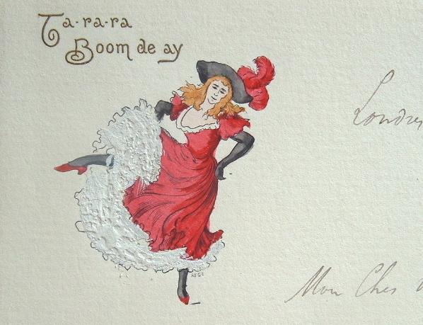 Lettre de Jules Roques illustrée d'une danseuse de cabaret..