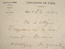 Lettre du mathématicien Appel.. Paul Emile Appell (1855-1930) Mathématicien.
