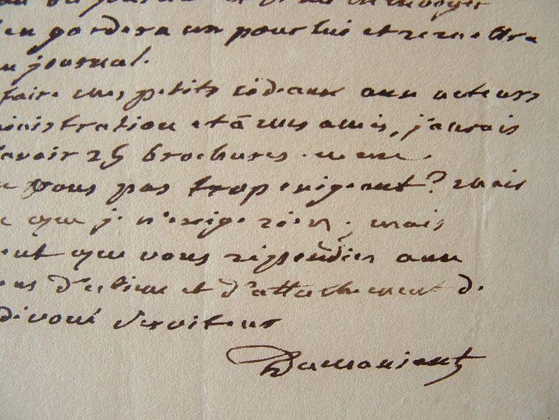 Dumaniant écrit à Dentu au sujet d'une pièce.. Antoine Dumaniant (Bourlain) (1752-1828) Dramaturge, directeur de différents théâtres, dont la scène de ...