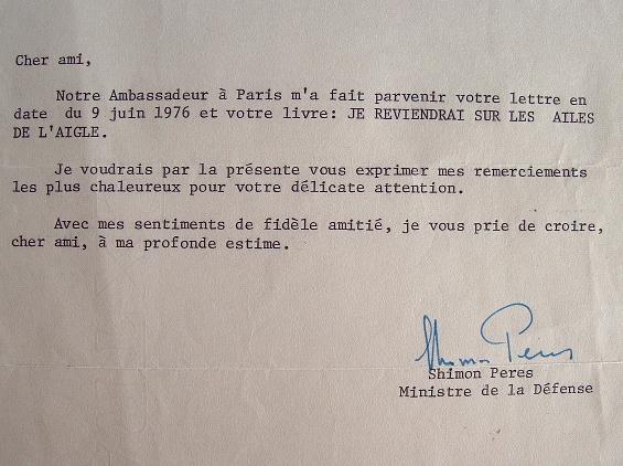 Shimon Peres reconnaissant.. Shimon Peres (1923-0) Homme d'Etat israélien, prix Nobel de la Paix (1994).