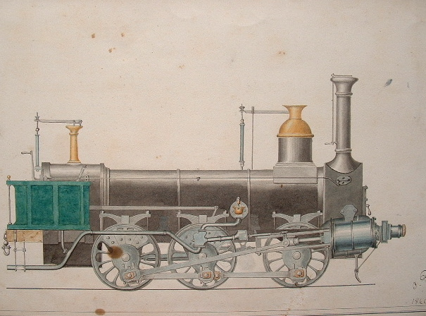 Dessin d'une locomotive à six roues, 1840..