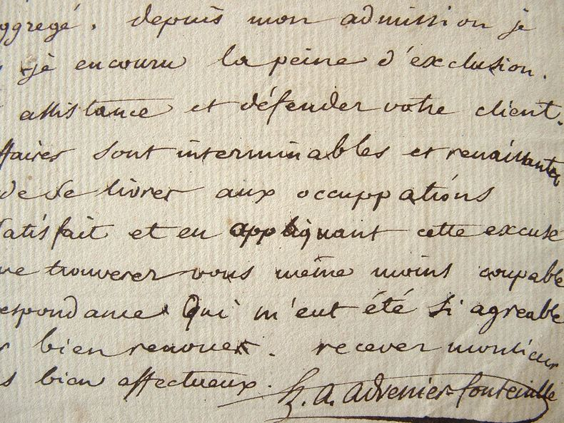 Advenier-Fontenille. Belle lettre relative à la production littéraire sous le Consulat. 1804.. Hippolyte Antoine Advenier (1775-1827) Littérateur et ...