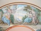Scène mythologique sur feuille d'éventail XVIIIe..