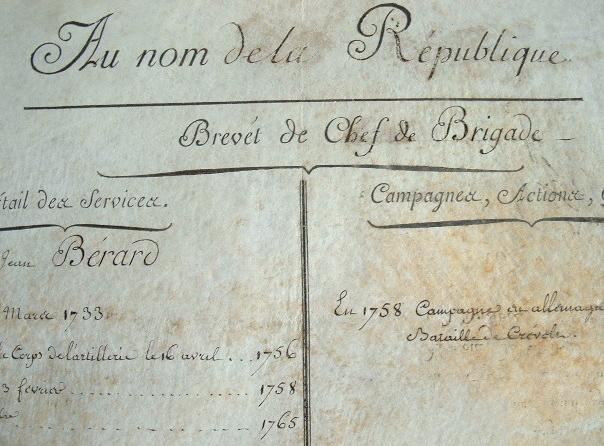 Brevet revolutionnaire de chef de brigade.. Louis Jérôme Gohier (1746-1830) Ministre de la Justice (1793), puis consul général de Hollande (1802).