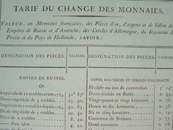 Valeur des monnaies d'or et d'argent en 1814..