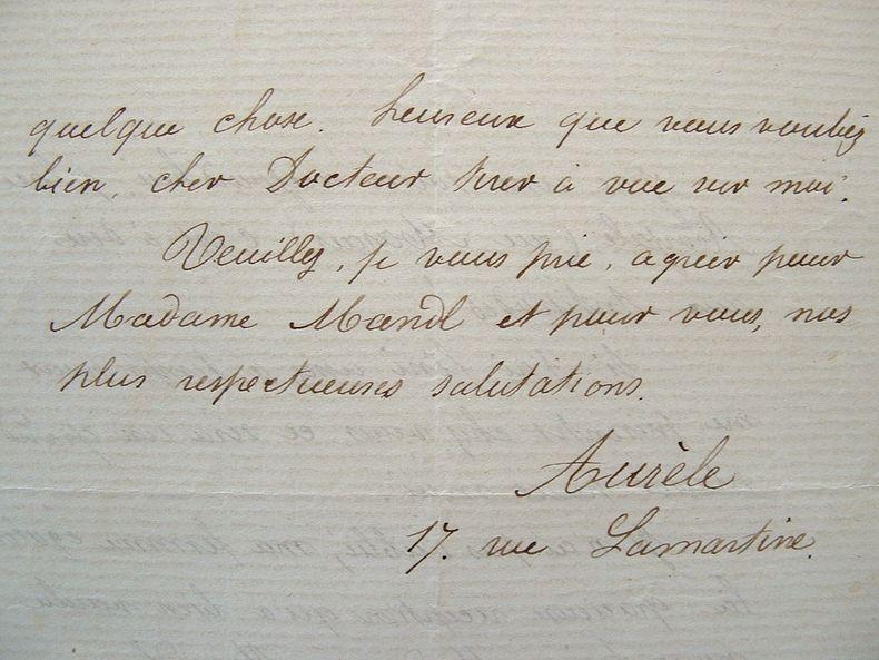 Aurèle. Lettre professionnelle et amicale..