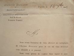 """""""L'Océanie française"""" reprend sa parution.."""