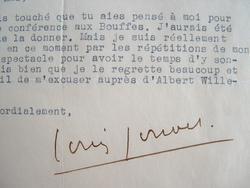 Louis Jouvet absorbé par les répétitions d'Ondine.. Louis Jouvet (1887-1951) Acteur de théâtre et de cinéma.