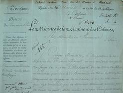 Naufrage d'un navire avec sa cargaison de tabac.. Denis Decrès (duc) (1762-1820) Marin, ministre de la Marine de Napoléon de 1801 à 1815.