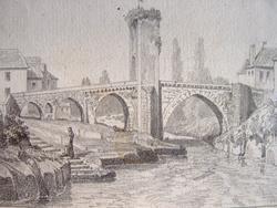 Pont d'Orthez. Fin dessin du milieu du XIXe..