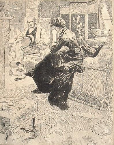 Eau-forte de Pierre Georges Jeanniot. Pierre Georges Jeanniot (1848-1934) Peintre, dessinateur, aquarelliste et graveur.