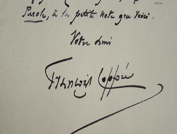 Lettre de François Coppée à Drumont. Francis Joachim Edouard, dit François Coppée (1842-1908) Poète et auteur dramatique. Membre de l'Académie ...