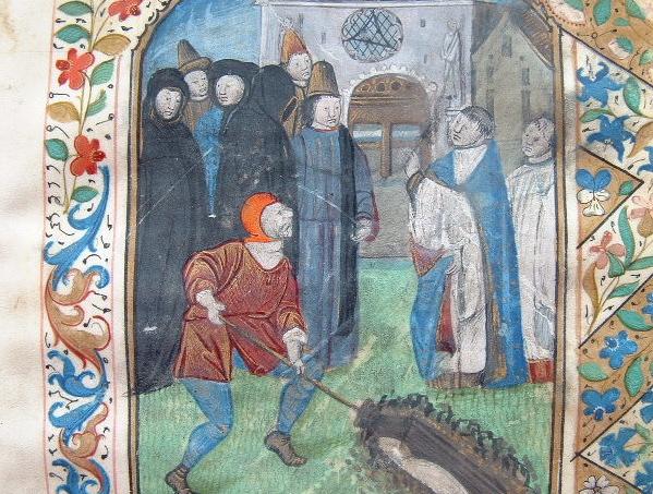 Belle miniature du XVe illustrant l'office des morts..