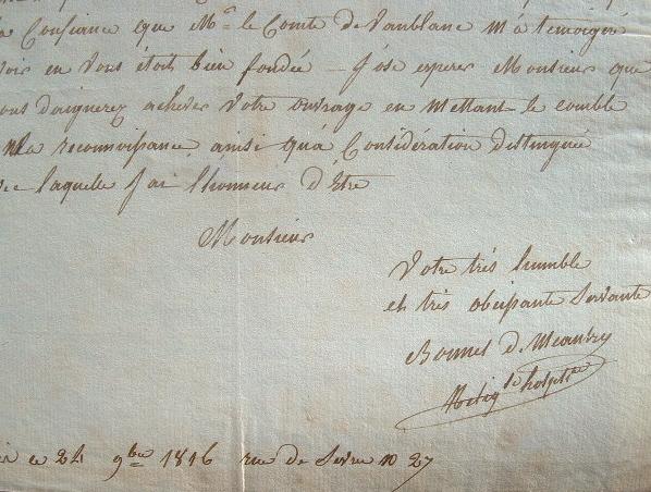 Deux lettres de la religieuse Bonnet de Meautry.. Bonnet de Meautry (0-0) Religieuse hospitalière.