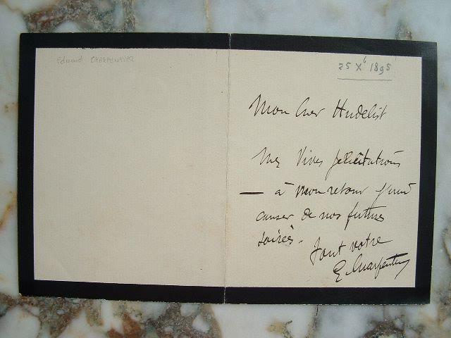Edmond Charpentier. Billet autographe signé.. Edmond Charpentier (1858-0) Avocat. Député de la Loire.