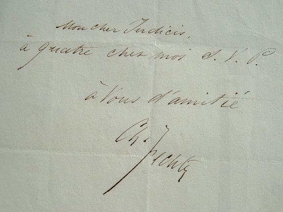 Charles Fechter écrit à Judicis.. Charles Albert Fechter (1823-1879) Comédien.