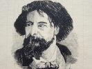 Portrait à la plume d'Alphonse Daudet.. Alphonse Daudet (1840-1897) Romancier.