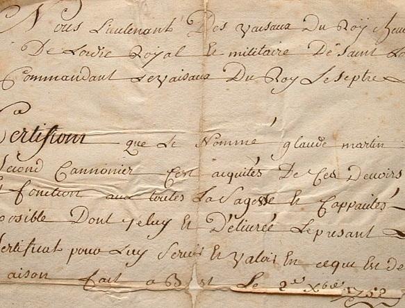 Un lieutenant de vaisseau de Louis XV délivre un certificat..
