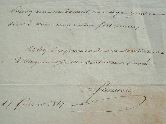 Joseph Isidore Samson. Billet autographe signé.. Joseph Isidore Samson (1793-1873) Comédien au talent reconnu. Auteur dramatique, pensionnaire à la ...