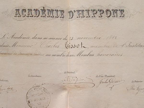 Diplôme de l'Académie d'Hippone (Algérie)..