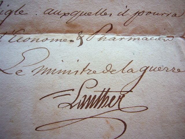 Joseph de Lanther approuve la nomination d'un chirurgien.. Joseph Lanther (de) (1748-1832) Ministre de la Guerre de la République Helvétique ...