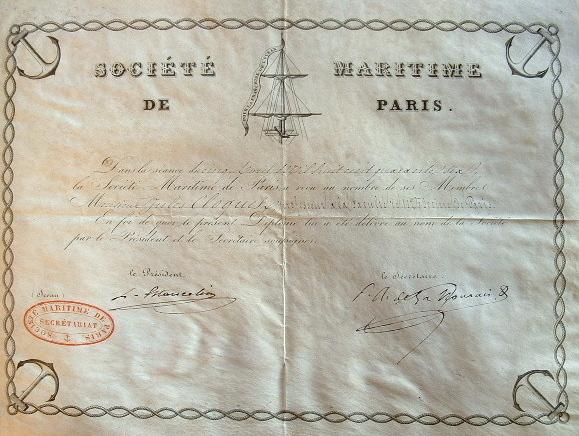 Diplôme de la Société Maritime de Paris..