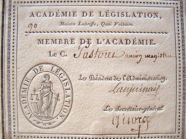 L'académie de législation accueille Pastoret.. Jean-Denis Lanjuinais (1753-1827) Magistrat et homme politique, député aux Etats-généraux de 1789 et à ...