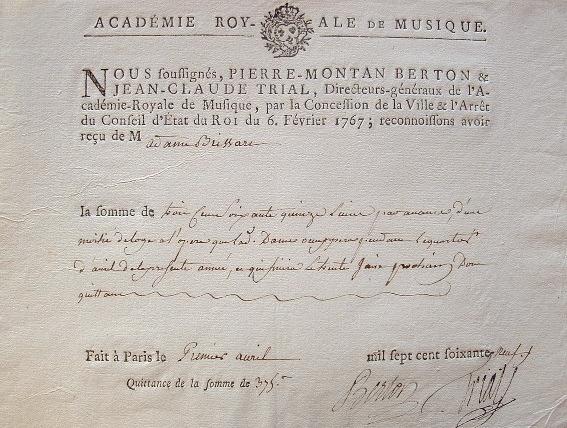 Une loge d'opéra accordée par les directeurs de l'Académie Royale de Musique.. Jean Claude Trial (1732-1771) Compositeur et violoniste prodige, ...