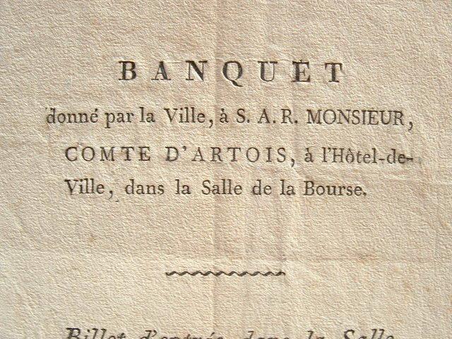 Un banquet pour le Comte d'Artois à Marseille..