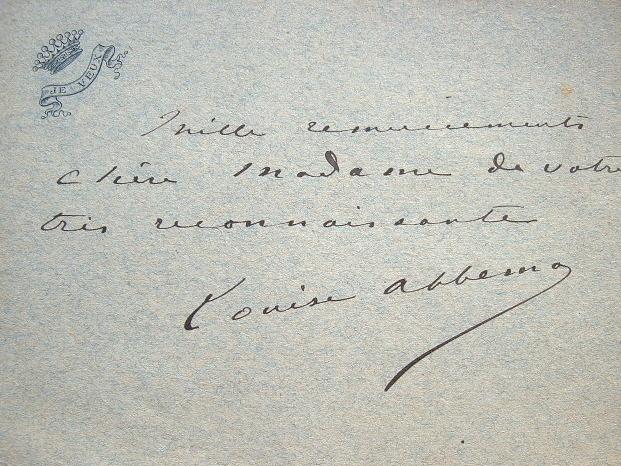 Billet de Louise Abbéma.. Louise Abbéma (1858-1927) Louise Abbéma s'illustre dans la peinture décorative et les portraits. Son trait, très délicat, ...