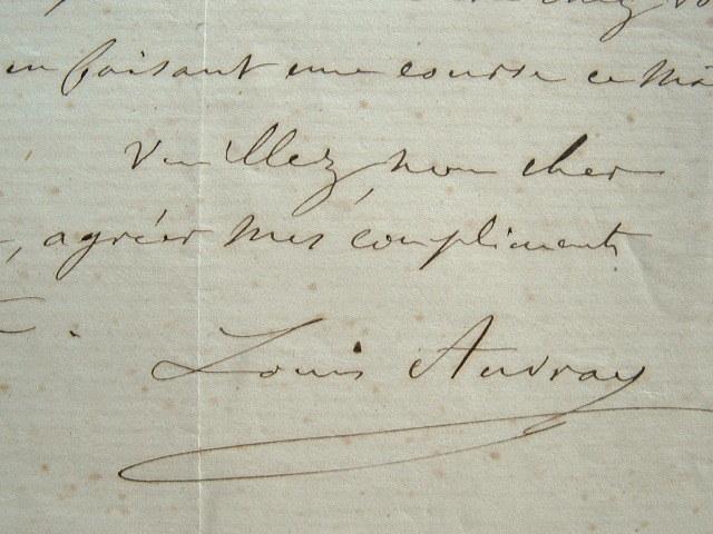 Lettre du sculpteur Louis Auvray.. Louis Auvray (1810-1890) Sculpteur.