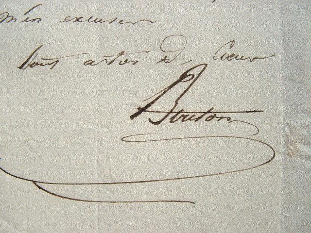Billet du peintre Charles Bouton.. Charles Marie Bouton (1781-1853) Artiste peintre.