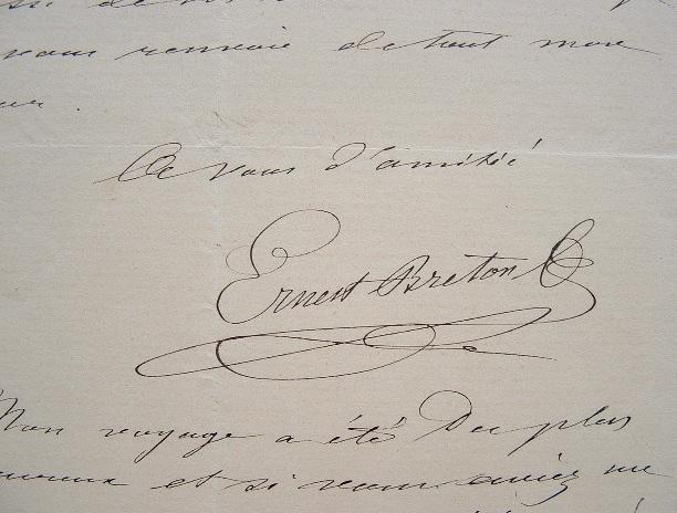 Ernest Breton heureux de son voyage.. Ernest Breton (1812-1875) Peintre, dessinateur et archéologue. Auteur de nombreux ouvrages, dont Pompeia (1855).