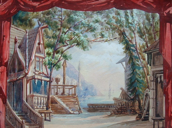 Trois décors de théâtre à l'aquarelle..