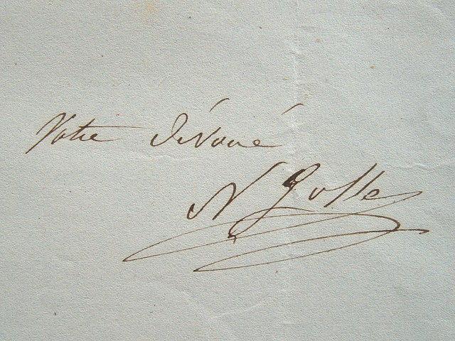 Petit billet de Nicolas Gosse.. Nicolas Gosse (1787-1878) Peintre d'histoire et portraitiste, élève de François Vincent.