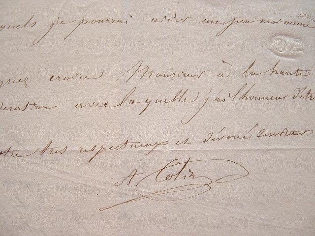 Alexandre Colin autorise des gravures d'après ses tableaux.. Alexandre Colin (1798-1875) Peintre et lithographe. Ami de Géricault.