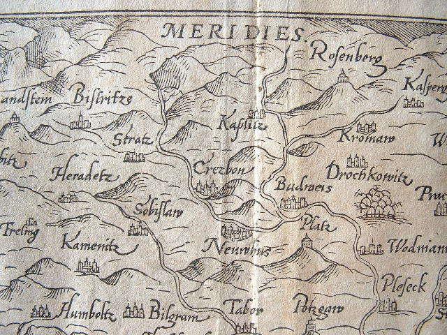 Gravure : carte de la Bohème (République Tchèque)..