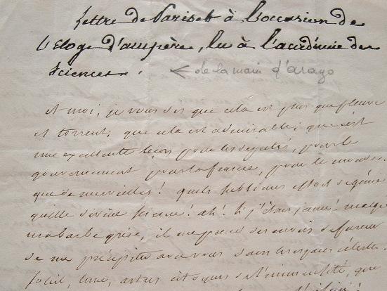 Pariset admiratif d'Arago et Ampère.. Etienne Pariset (1770-1847) Médecin, secrétaire perpétuel de l'Académie de Médecine.