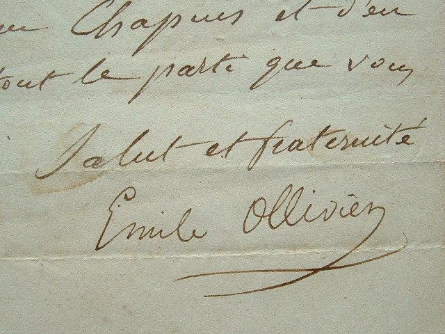 Lettre d'Emile Ollivier en 1848.. Emile Ollivier (1825-1913) Chargé par Napoléon III de former le ministère du 2 janvier 1870, il est renversé après ...