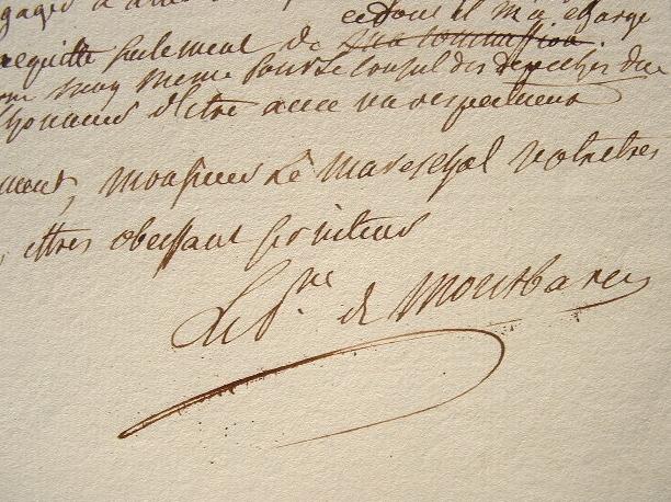 Montbarrey adresse une dépêche urgente au maréchal de Broglie.. Alexandre Marie Léonor de Saint-Mauris Montbarrey (prince de) (1732-1796) Officier et ...